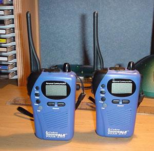 Cobra Microtalk 250 PMR Radios on a Desk