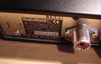 Radio Shack TR-1080/Maycom EM27 Rear Panel