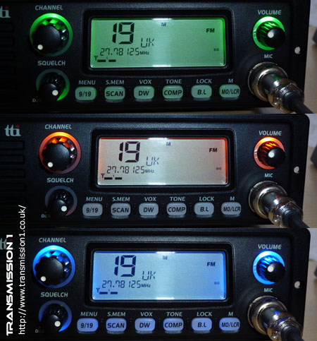 TCB-1100 showing the different LED backlight options