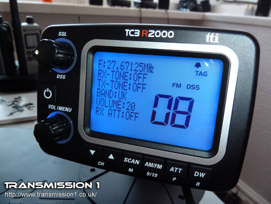 The TCB-R2000 LCD head unit illuminating in Blue